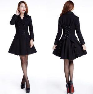 Jackets & Blazers - Plus Size Pocket Lace Up Back Wool Coat Jacket